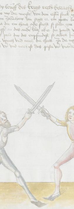 Image : Hans Lecküchner, Kunst des Messerfechtens - BSB Cgm 582 folio 9v.